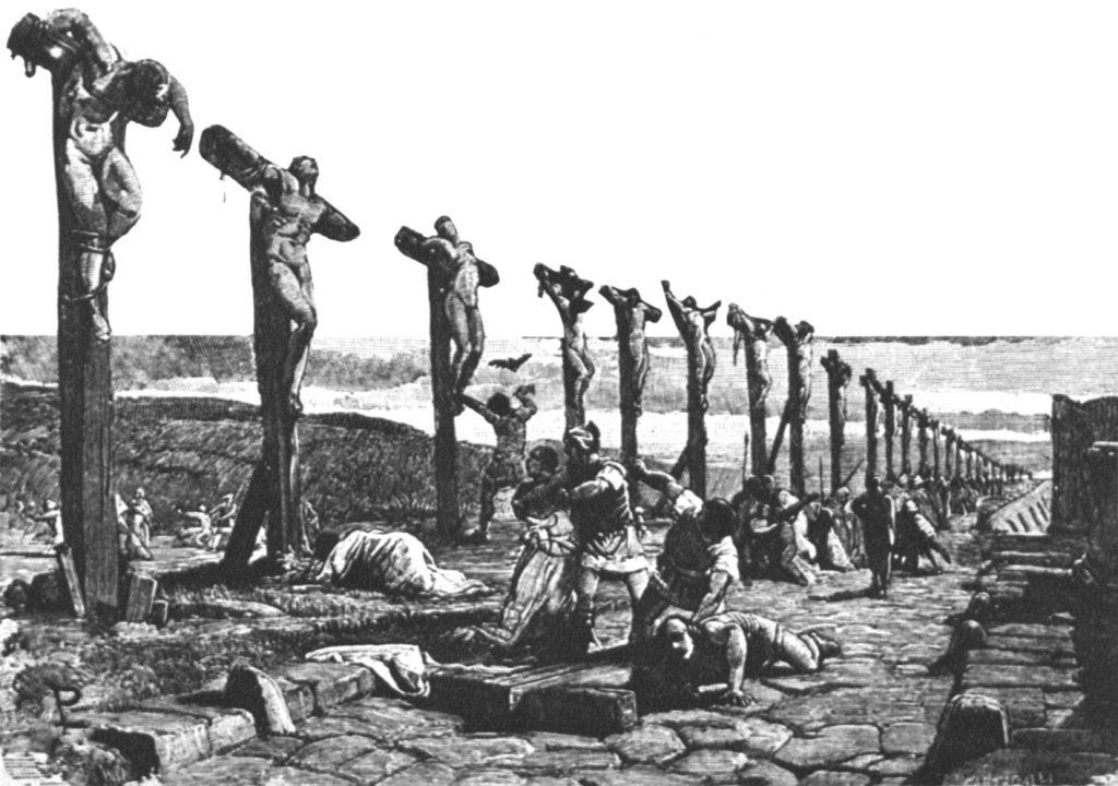 Commilitoni di Spartaco crocifissi lungo la Via Appia - Illustrazione di Ludovico Pogliaghi