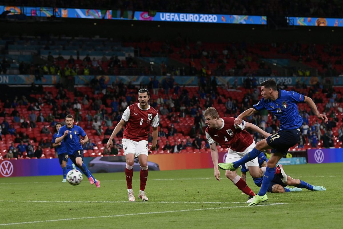 Italia-Austria 2-1 - 26-6-2021 - Il gol del 2-0 di Pessina - 02