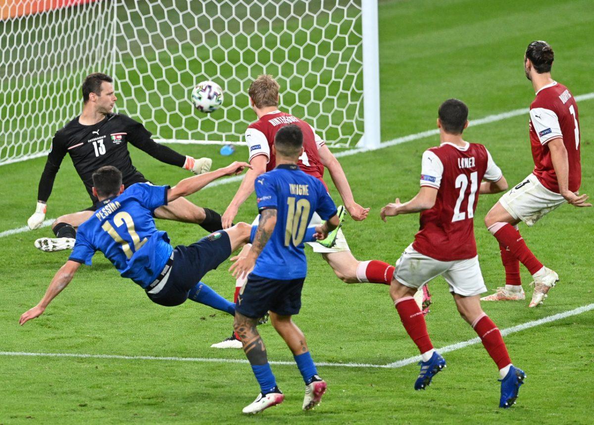 Italia-Austria 2-1 - 26-6-2021 - Il gol del 2-0 di Pessina - 04