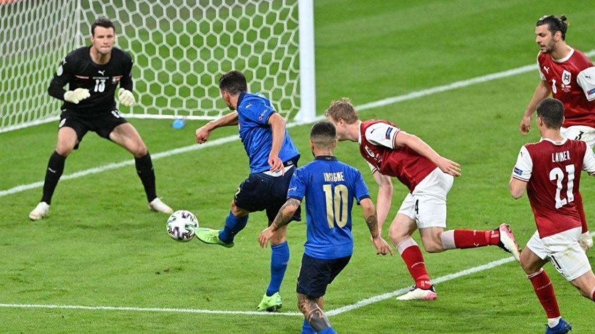 Italia-Austria 2-1 - 26-6-2021 - Il gol del 2-0 di Pessina