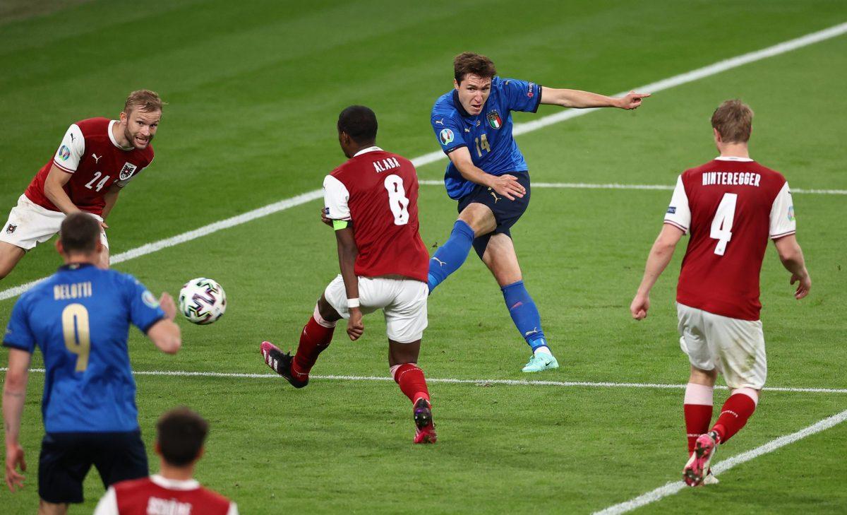 Italia-Austria 2-1 - 26-6-2021 - Il gol dell'1-0 di Chiesa
