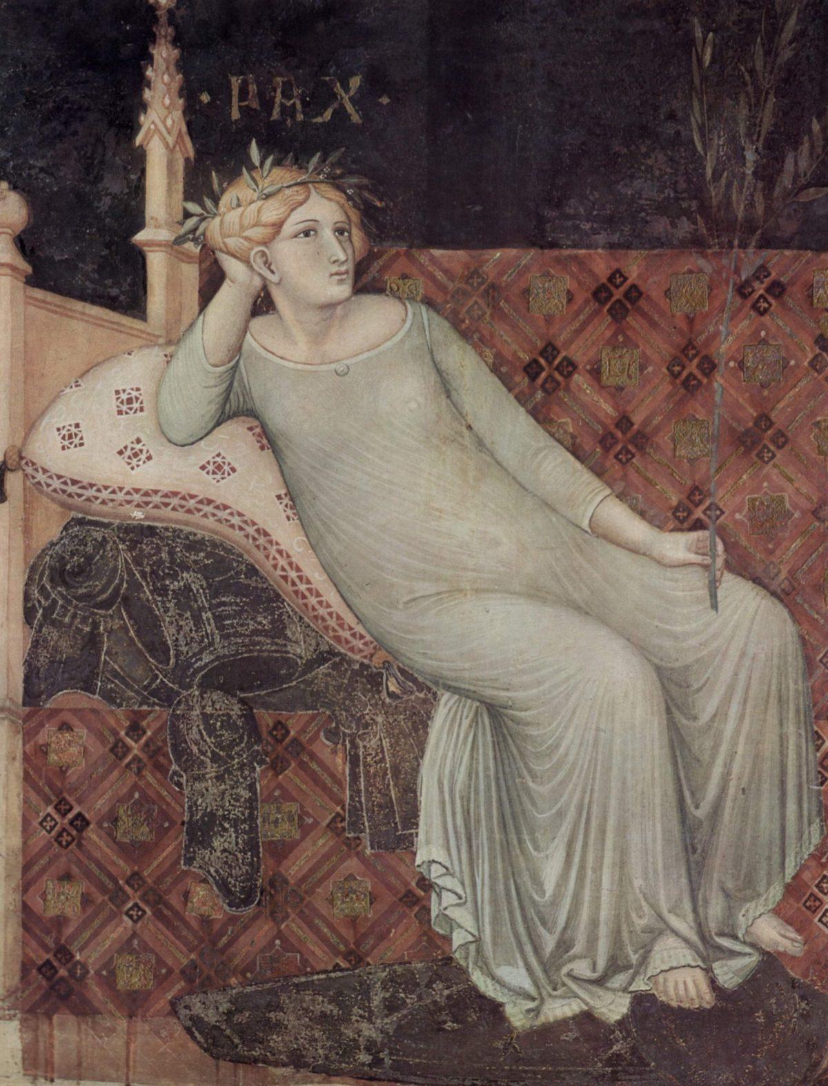 La Pace dipinta da Ambrogio Lorenzetti fra il 1338 e il 1339 nell'affresco del Buon Governo nel Palazzo Pubblico di Siena
